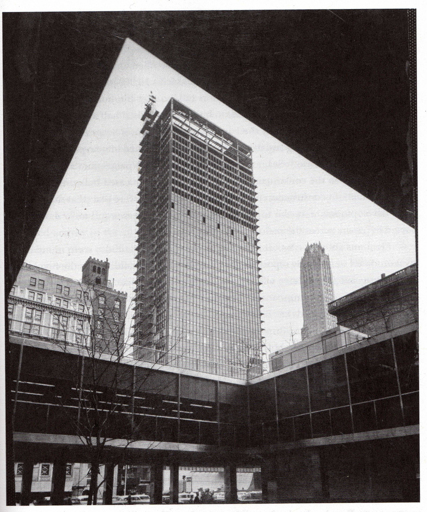 The Seagram Building under construction as seen from Lever House in 1957, New York