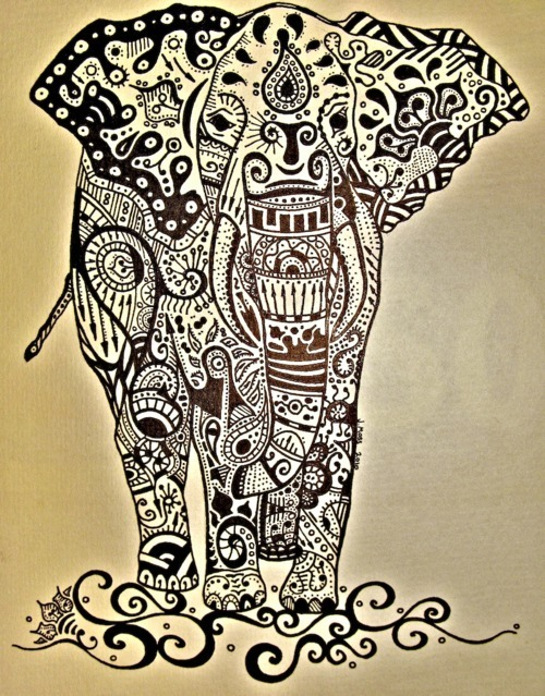 The design of life  Indian Elephant Drawing Tumblr Colorful