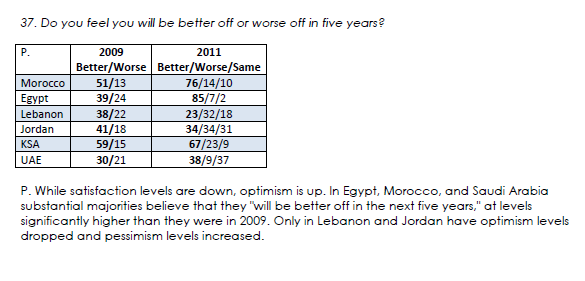 A glimmer of hope for Arabs via Arab Attitudes: 2011, a report from the Arab American Institute. Read the rest of the report at the link.