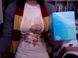 all set for tonight-House Brawl shirt, Gryffindor scarf, and tissueGonna avoid the internet like the plague now.