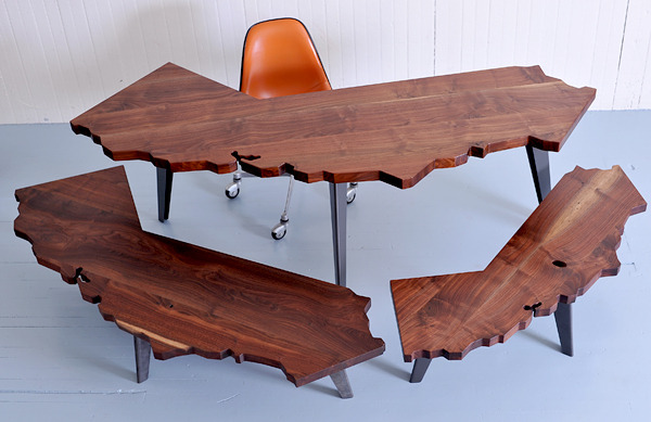 West Coast fo' life.  Desks and coffee tables by J. Rusten.
