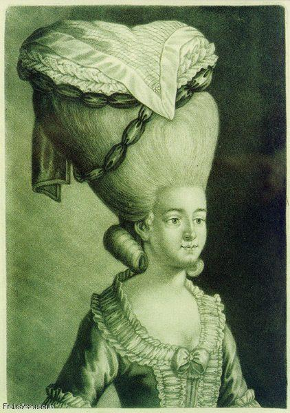 oldrags: Hat and hairstyle, ca 1780 … This isn't a caricature.