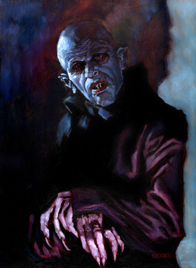blueruins:  Oil Painting of Klaus Kinski as Nosferatu