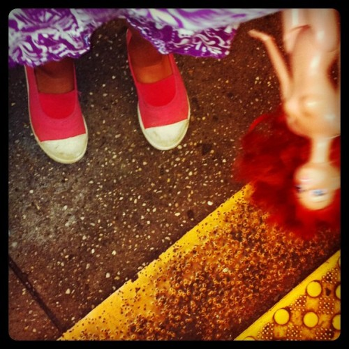 Naked Ariel rides the subway. #barbie #subway #NYC  (Taken with instagram)