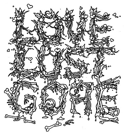 Hannah Stouffer,'Love Lust Gore' illustrated font for personal use