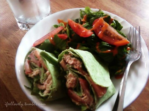 Tuna wrap & salad. yummmy =)