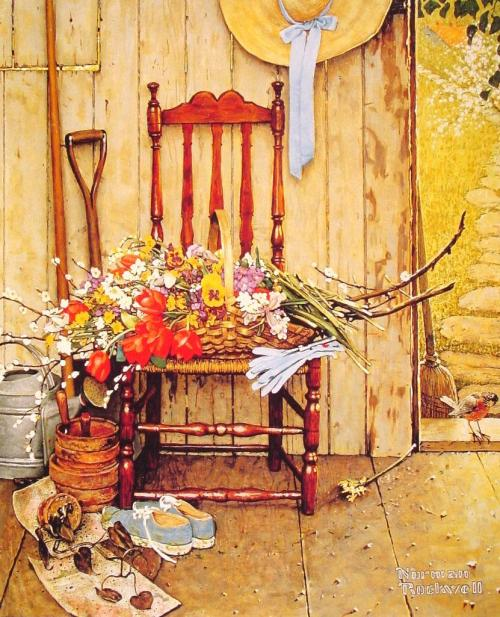 missfolly:  Spring Flowers, by Norman Rockwell, 1969
