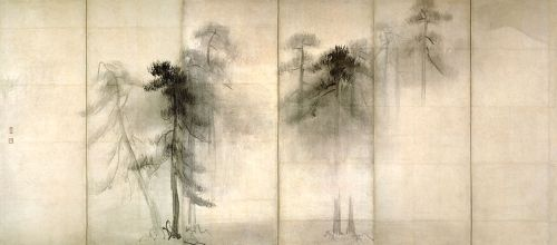 "imaginary-blue:  Hasegawa Tohaku (長谷川等伯、1539-1610). Left panel of pair of 6 folded screens, ""Pine Trees,"" 16th century."