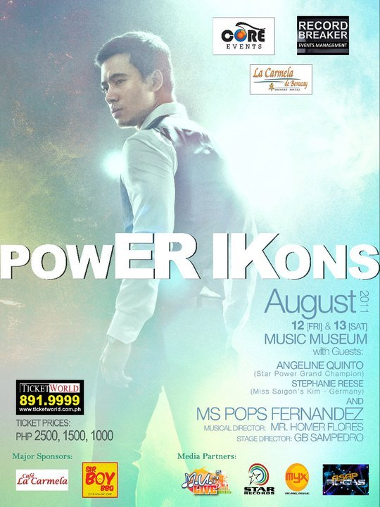 POWER IKONSErik Santos | 12 & 113 Aug. 2011 | Music Museum Ticket inquiries: www.musicmuseum.com | www.ticketworld.comErik Santos. The name equates to great music. His songs are always heartfelt. His every performance is guaranteed breathtaking. This August, he will break new grounds. We invite you to witness another ERIK SANTOS EXPERIENCE! Be there when the Prince of Pop transcends to a POWER ICON!With special guests Angeline Quinto (Star Power Grand Champion), Stephanie Reese (Miss Saigon's Kim – Germany) and Concert Queen, Pops Fernandez. Director: GB SampedroMusical Director: Homer Flores Ticket Prices: P2500 – Orchestra Center (Reserved Seating)P1500 – Orchestra Sides (Reserved Seating)P1000 – Balcony (First Come, First Served) Tickets available at TicketWorld ( 891-9999) & Music Museum (722-4532) You may also inquire & order tickets from ESFO. Text joan at 0916-7834091/0918-2296839 or message bam at http://www.facebook.com/bam.of.ESFO. Original article HERE.