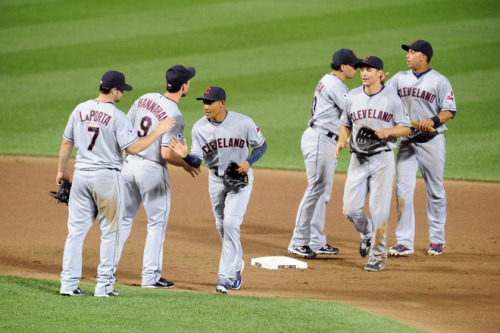 Mitchell Layton/Getty Images The Cleveland Indians celebrate a win after a baseball game against the Baltimore Orioles at Oriole Park at Camden Yards on July 14, 2011.