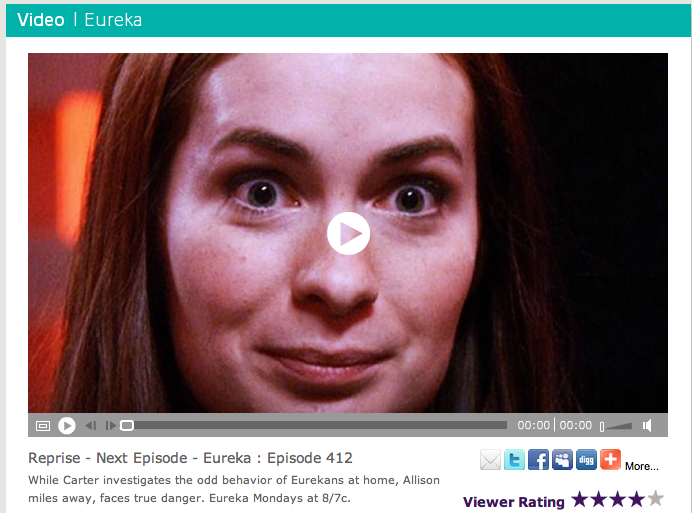 Felicia's guest starring on Eureka, and by the looks of the thumbnail, it's gonna get CRAZEEE (or she is?)