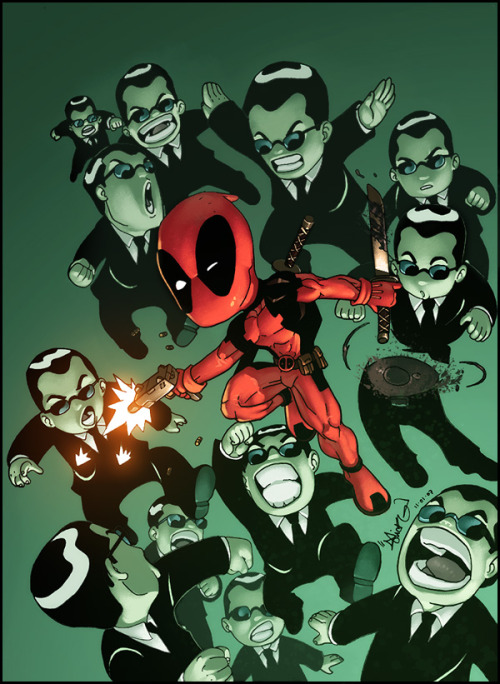 jaygoneawol:  Deadpool Vs. The Matrix  Deadpool is NEO © GEEnormous (GEE Hale)
