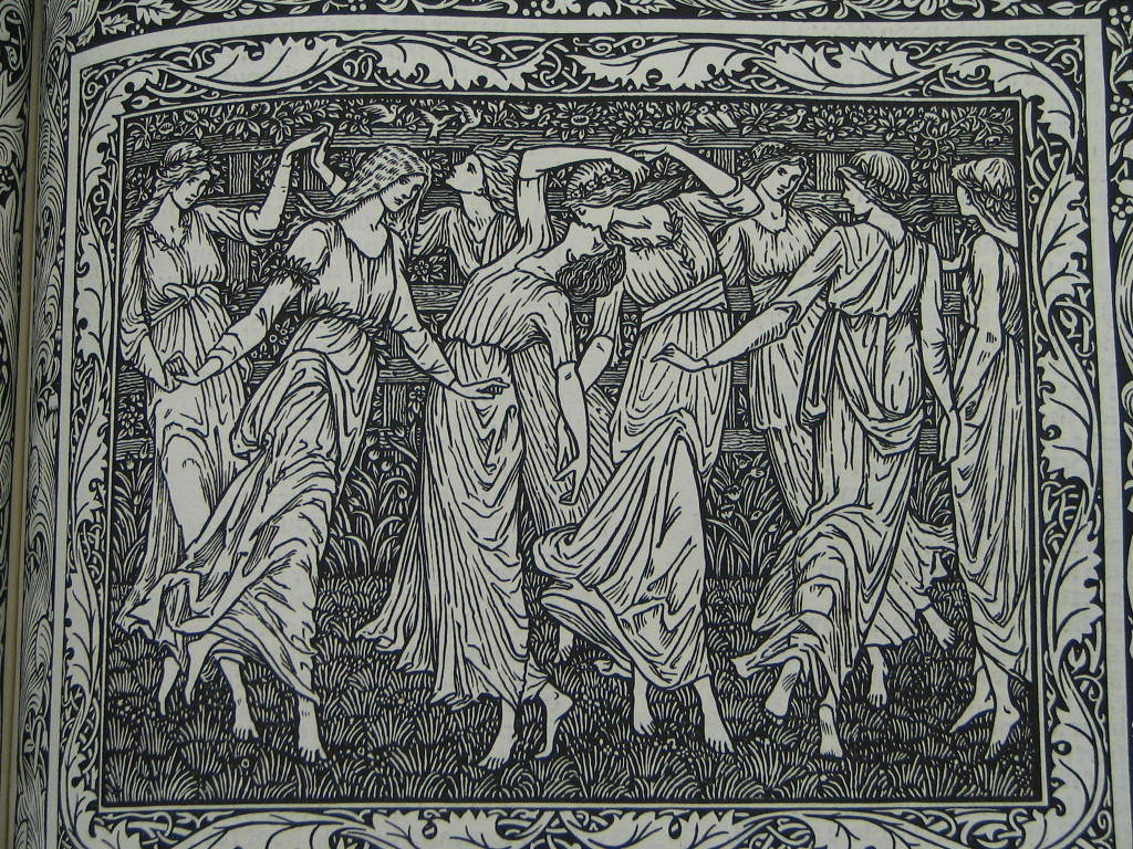Geoffrey Chaucer Detail of Dancing Maidens The Works of Geoffrey Chaucer. Chaucer. Kelmscott Press. 1896.