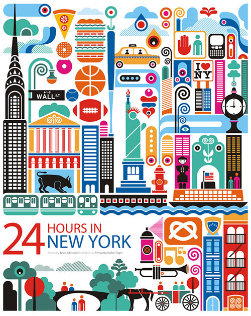 24 Hours in New York from a series of city illustrations by Fernando Volken Togni. More here More illustrations for your inspiration. posted byW.A.T.C. // Facebook // Twitter // Google+