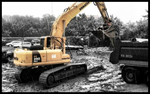 Day 14/365 - Steel rain Yellow excavator in the rain. I used: Camera+ (Clarity, Golden Crop, Thin black border), ColorSplash Listening to Chris Cornell - Steel rain now.