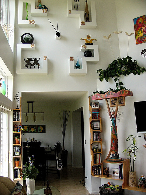 Hubby's Shelves & our new clock we built. by walldancers on Flickr.