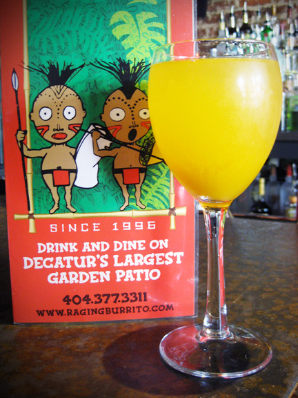 A Mango Mimosa at Raging Burrito in Decatur, GA. (Those little dudes are too freaking cute). Photo credit: Lush Lady