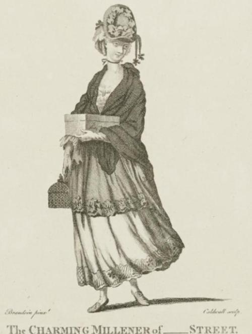 The Charming Milliner, December 1771. Not a fashion plate exactly, but I couldn't resist her!  And it helps fill in the early 1770s gaps!