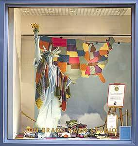 This is a knit map of America. It was a window display at a yarn store in Union Square. This map is important to me because I love to see when art is made out of knitting and i also love the fact that they were able to form a map out of knitting as well, though it isn't exactly a map. It doesn't include what a map usually does but I think this is still pretty cool. When we were younger this is what a map of America would have looked like, so I think this picture applies to this assignment.