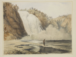 Falls of Montmorency, around 1840 Coke Smyth (British, 1808 - 1882) Print, hand coloured stone lithograph on wove paper, 27.2 x 36.2 cm Gift of Manulife Financial, 2007
