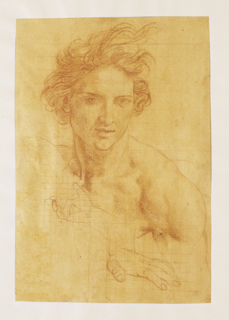 artgalleryofontario:  Study of a Head and Hands of St. John the Baptist, c. 1700s Pompeo Girolamo Batoni (Italian, 1708 - 1787) Drawing, red chalk with traces of white heightening on toned laid paper squared for transfer, 28.9 x 19.8 cm Gift from the Estate of R. Fraser Elliott, 2005