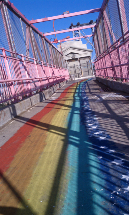 i was thrilled when part of the williamsburg bridge was turned into the rainbow road! runningaroundtown:  williamsburg bridge, brooklyn side, nyc7:50am, 69°5 miles