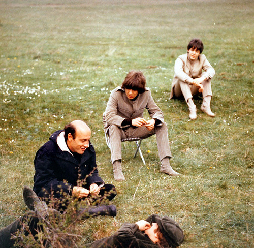 dick lester directs three fourths of the beatles on the set of help!, 1965.