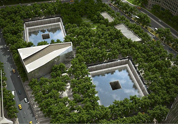 The September 11 Memorial is expected to become one of the most popular attractions in New York, with up to 10,000 visitors a day. More than 66,000 people applied for visitor passes to the memorial in the first three days of reservations opening [this week]. A private ceremony for victims' families is being held at the site on September 11, the 10th anniversary of the attacks. It opens to the public on September 12. This image is a  computer-generated renderings of what the site will look like when completed.