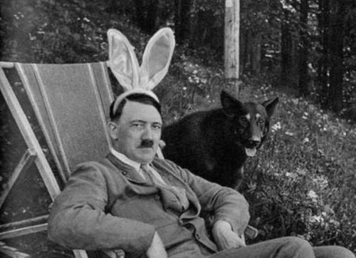 animalstalkinginallcaps:  Happy Easter, Gunther, my faithful hound. HITLER, YOU LOOK LIKE A TIT. It is a holiday, mein freund. IN THE WILD I WOULD DEVOUR YOUR FACE AND FEAST UPON YOUR HAUNCHES. Would you enjoy a kibble? I WOULD LOVE ONE, THANK YOU.