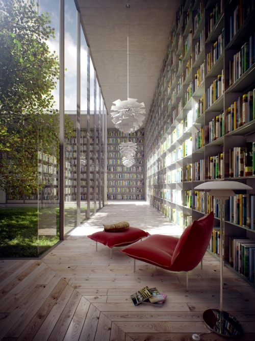homedesigning:  Home Library Inspiration <- Click through for more inspiring pics