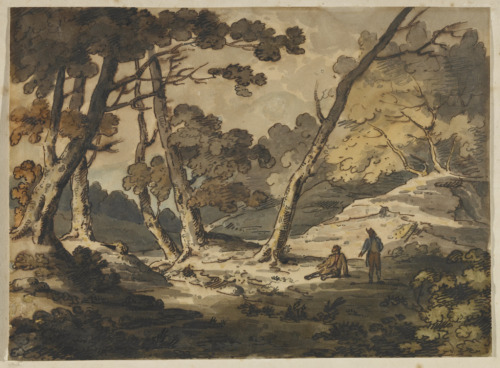 Two Men in a Wood, c. 1790 Paul Sandby (British, 1731 - 1809) Drawing, pen and brown iron-gall ink and watercolour over black chalk on hand-made wove paper,  21 x 28.9 cm Gift of Michèle Chicoine in memory of John Roberts, 2008