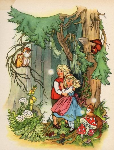 "fairytalemood:  ""Hansel and Gretel"" vintage illustration"