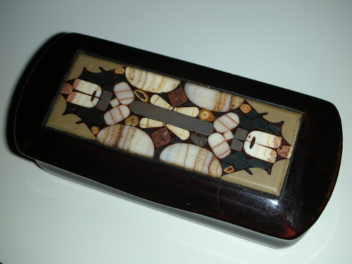 Old European snuff box with mixed stone inlays, most likely from France. Circa: 19th century.