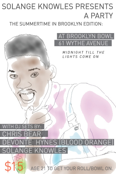 July 22 featuring Chris Bear on the tables with Solange Knowles and Devonte Hynes from Blood Orange!