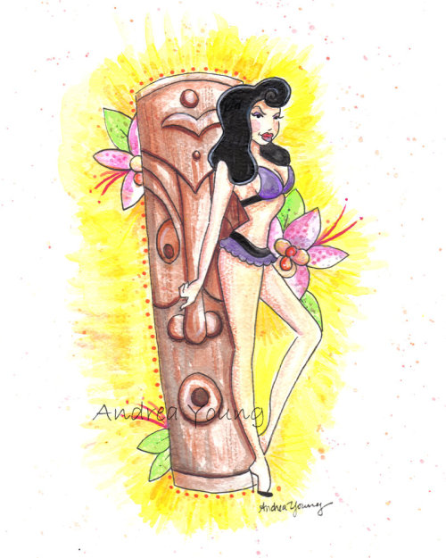 "Ivy Tiki by Andrea Young ""Water color of model Ivy and Tiki Ray's Tiki."""