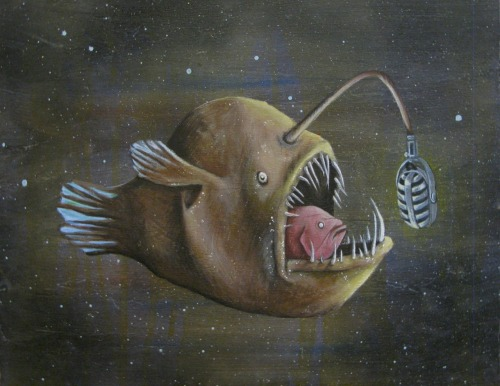 Artwork of the Day : Angler Fish : Rachel Bishop Love this… want this! See more of her work here: http://bishopillustration.tumblr.com/ bishopillustration:  Angler fish. Acrylic on wood panel