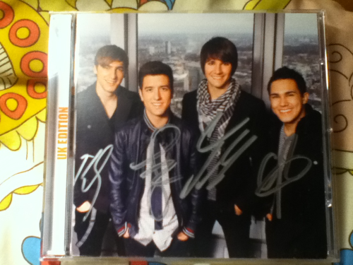 "Signed Big Time Rush CD ""BTR (UK edition)""  I came back from my week in France and this had arrived.  Because I preordered it from HMV.  signed  signed  by all four sexual amazing beautiful talented BOYS   DJXKSKDKEHDHHXHXHXGDHSHD LIKE ACTUALLY SIGNED  I couldn't stop shaking.  My Dad tried to hold it and I screamed at him.  Thing is the signed picture is glued to the album haha. So I can't frame it or anything creepy like that.  But WHATEVER  ITS SO AMAZING I JUST CAN'T EVEN DKSJAKRKCKAKKDKXKDKSKSKAK"