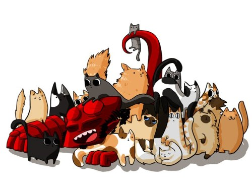 arashikami:  Hellboy and Kitties | by Kristin Palach  [via nudityandnerdery | thegeekmaster | lulubonanza]   Nerd cats love Hellboy.