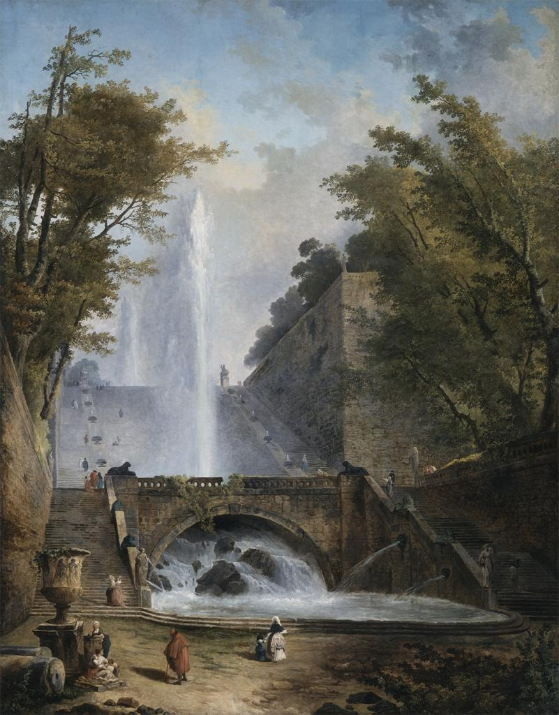 mesbeauxarts:  Hubert Robert. Stair and Fountain in the Park of a Roman Villa. ca. 1770. Oil on canvas. Los Angeles County Museum of Art. Los Angeles, CA. USA.