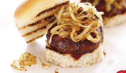 "Portobello Burger Recipe!  Big or small, portobello mushrooms make the perfect grilled ""burger."" Portobellos' meaty texture and rich, robust flavor take on the flavors of marinades and rubs and stay juicy and tender when grilled. The onion topping can be made up to two days ahead. ingredient list  Serves 4 8 baby portobello mushrooms, stems removed 3 Tbs. olive oil, divided 2 Tbs. Classic BBQ Rub 2 medium yellow or white onions, thinly sliced 1 tsp. herbes de Provence 1/2 cup prepared barbecue sauce 2 oz. shredded smoked Gouda (3/4 cup) 8 mini challah rolls or dinner rollsDIRECTIONS  1. Toss mushrooms in bowl with 1 Tbs. olive oil and Classic BBQ Rub. Set aside. 2. Heat remaining 2 Tbs. oil in large skillet over medium heat. Add onions and herbes de Provence, and cook 30 minutes, or until golden, stirring occasionally. Remove from heat, and season with salt and pepper, if desired. 3. Heat grill or grill topper over medium-high heat. Rub grate or grill topper with vegetable oil. Place mushrooms stem-side down on grill. Brush mushroom tops with barbecue sauce, and grill 3 to 4 minutes, or until soft and charred around the edges. Flip, and grill 3 minutes more. Divide cheese among mushrooms, placing in center of each stem side. Grill 1 minute more, or until cheese is melted. 4. Meanwhile, warm buns on grill. Spread barbecue sauce on bottom buns, then top each with 1 mushroom, sautéed onions, and top bun. Via ► sammydavisjuniorjunior:"