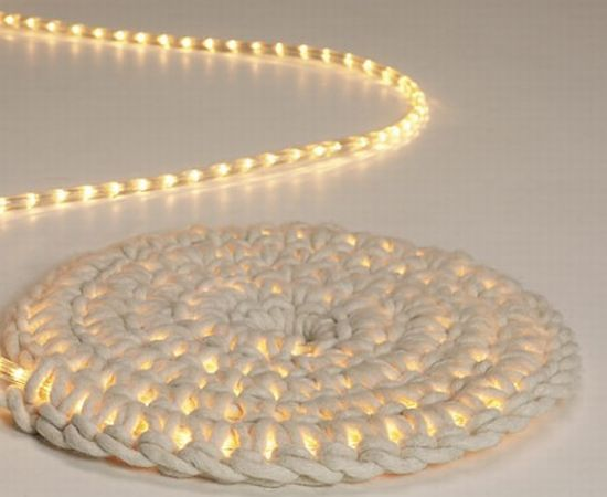 A multi-functional rug!  Create a soft glow with a softness under foot :) Via: Home QN.