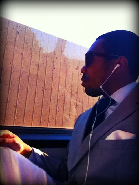 Headed home from work.  Pants - Ralph Lauren Pocket square - Armstrong and Wilson  Jacket - Zara Shirt - Lands End.  Tie - Pink.