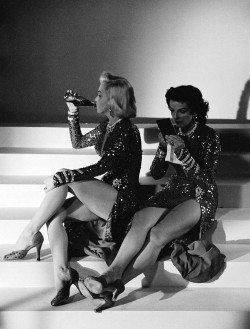 classiquehollywood:  theniftyfifties: Marilyn Monroe and Jane Russell on the set of 'Gentlemen Prefer Blondes', 1953.