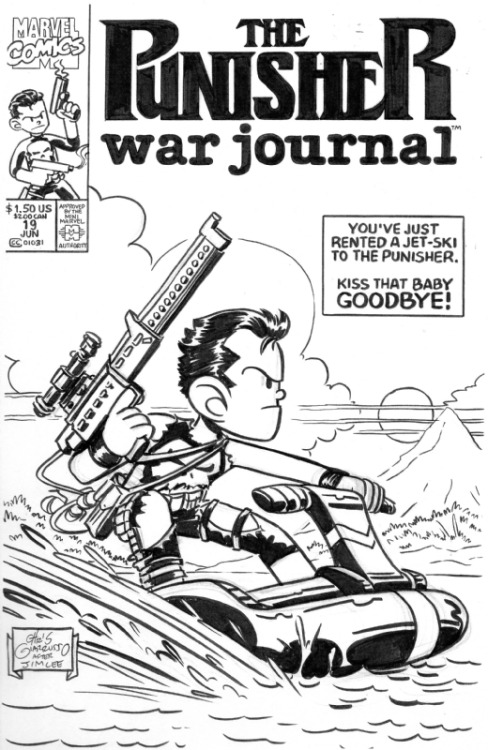 Chris Giarrusso recreates Jim Lee's cover for Punisher War Journal #19. (Also: best cover caption ever? I think so.)
