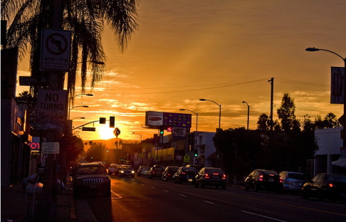 sunset, as melrose ave sees.