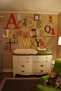 craftdiscoveries:  Kiddo Room Ideas / Each baby shower guest is assigned a letter & is asked to bring that letter decorated for the nursery. How awesome-an easy way to get all the letters… (Forget for a nursery… I want it for me!)