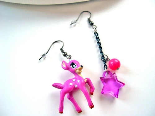Cute asymetric bambi earrings