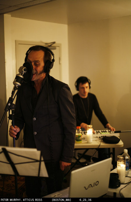 Peter Murphy and Atticus Ross, at the recording of the With Teeth 2006 Summer Radio shows with Nine Inch Nails. Boston, MA, 2006/06/23 [about]