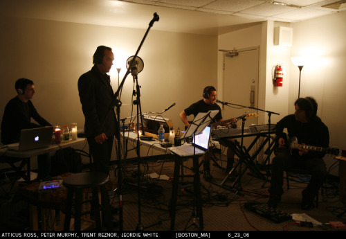 Atticus Ross, Peter Murphy, Trent Reznor and Jeordie White at the With Teeth 2006 Summer Radio Shows. [about]