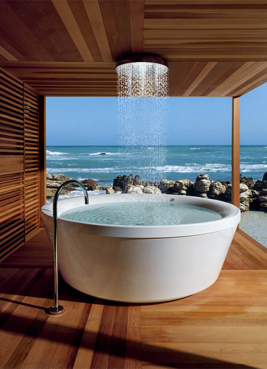 sunsurfer:  Seaside Overhead Shower Bath, Italy photo via trendir  omg shower of my dreams.